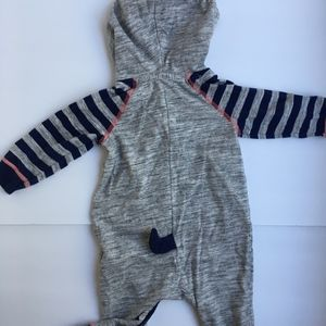 Cat & Jack One Pieces - Raccoon Raglan Henley Romper Footless Onesie Hood